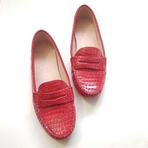 Shoes - Red Snakeskin  Print Loafer